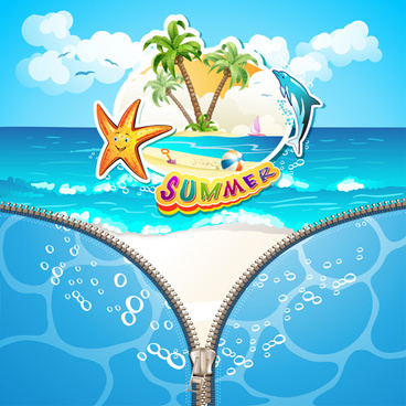 summer beach with zipper vector background