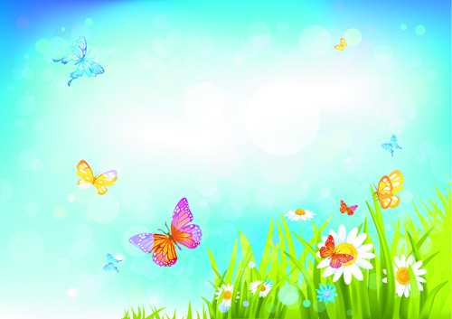 summer blue sky backgrounds vector