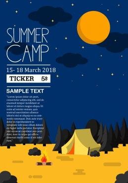 summer camp poster tent moon mountain scene decor