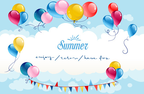 summer colored balloons vector card