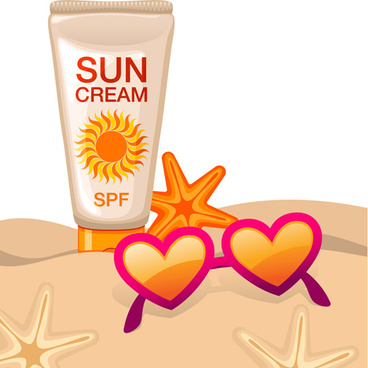 summer cream protect lotion design vector