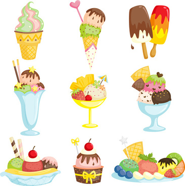 summer delicious ice cream set vector