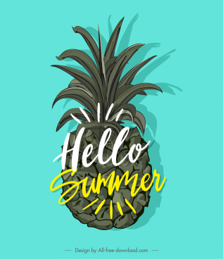 summer design element pineapple icon calligraphic decor