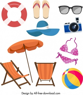 summer design elements sea objects icons