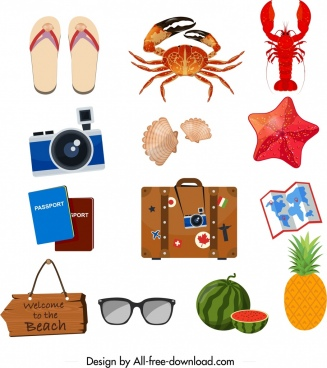summer design elements trip utensils sea creatures icons