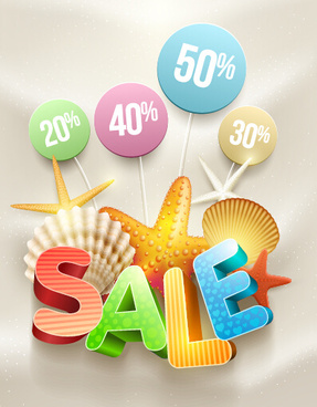 summer discount poster and shell vector