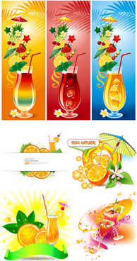 summer drinks beverage vector