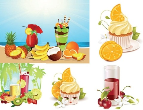 Summer drinks ice cream vector