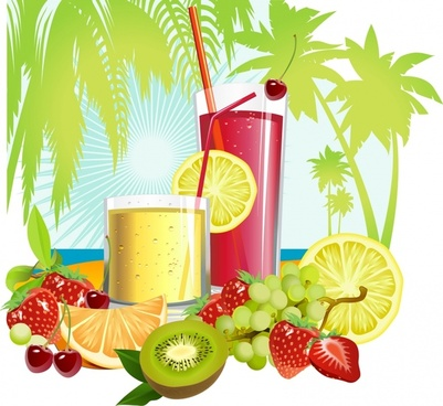 summer background fruits cocktail icons colorful bright decor