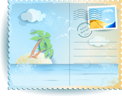 summer elements postcards vector