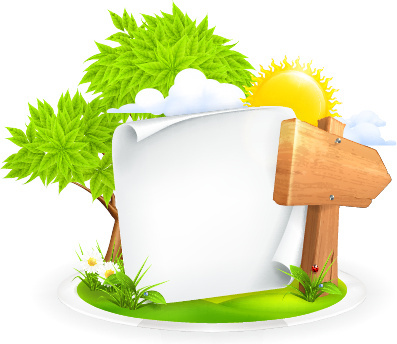 summer elements with blank paper background vector