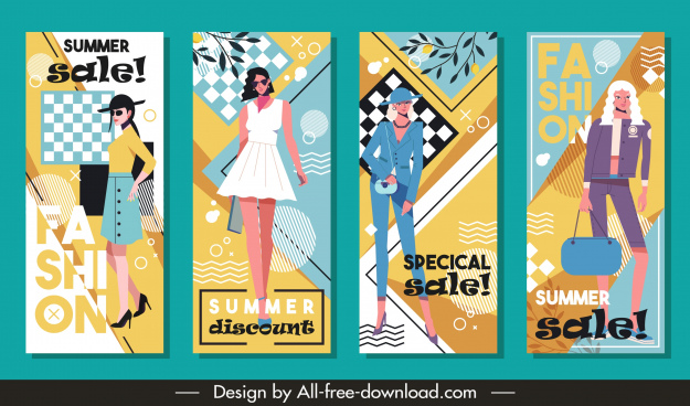 summer fashion sale flyers colorful contemporary female models