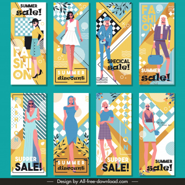 summer fashion sale flyers colorful design model sketch