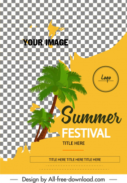 summer festival banner checkered decor coconut tree icon