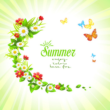summer flower with butterflies background