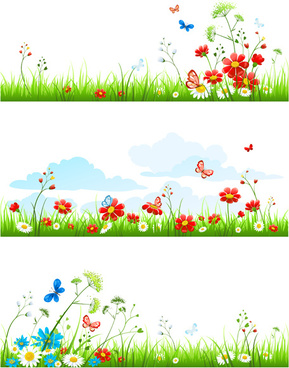summer flower with butterflies nature elements vector