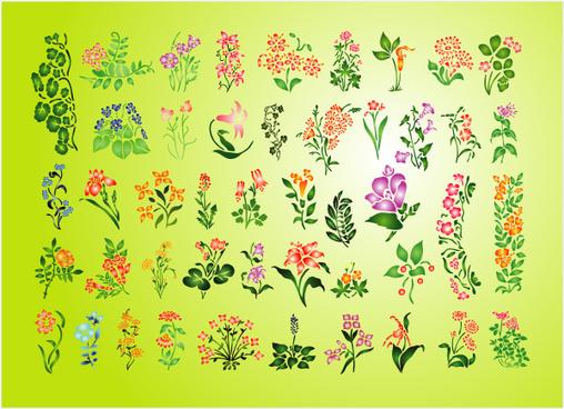 summer flowers set vector