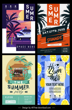 summer flyer templates colorful classical decor