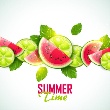 summer fruits art background vector set