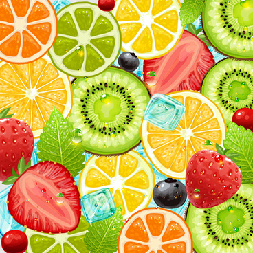 summer fruits backgrounds vector