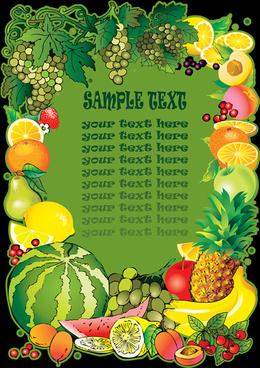 summer fruits frames background vector
