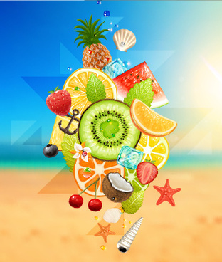 summer fruits with beach vector background