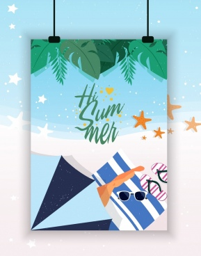 summer holiday banner beach design elements decor
