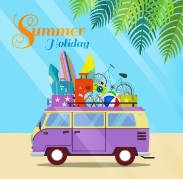 summer holiday banner car surfboard luggage icons