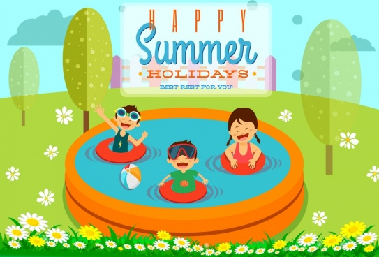 summer holiday banner joyful children swimming pool icons
