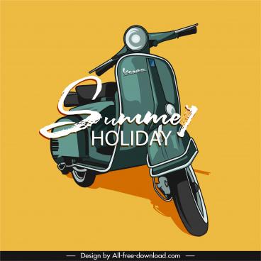 summer holiday banner retro vespa motorbike sketch