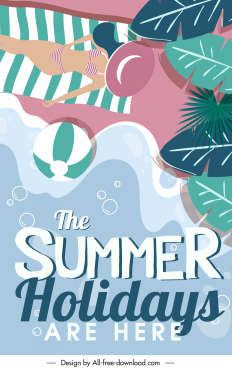 summer holiday banner sea scene elements colorful flat