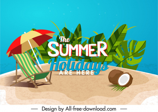 summer holiday banner seaside elements leaves decor
