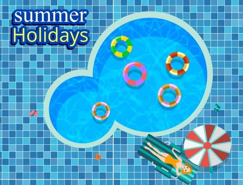 summer holiday banner swimming pool bikini girl icons