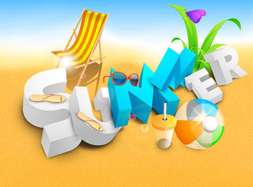 summer holiday beach creative background vecor