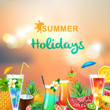 summer holiday blurs background with drink vector