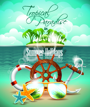summer holiday flyer template vector