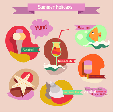 summer holiday food with travel vector