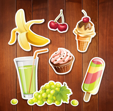 summer holiday food with wooden background vector