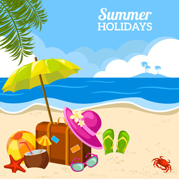 summer holiday happy beach background vector