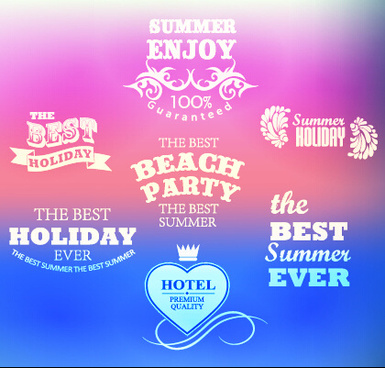 summer holiday labels typography vector