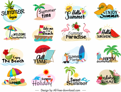 summer holiday logotypes colorful beach symbols sketch