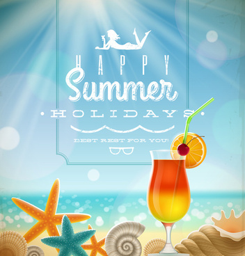 summer holiday ocean backgrounds art vector