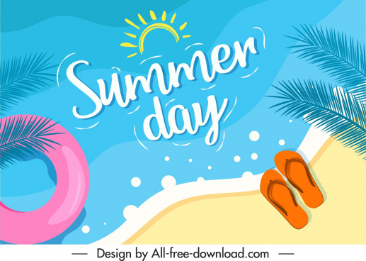 summer holiday poster beach sketch colorful flat design