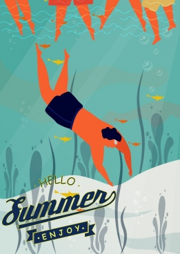 summer holiday poster diving man icon colored cartoon