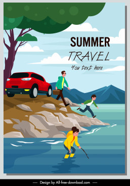 summer holiday poster family vacation sketch cartoon design