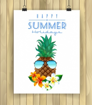 summer holiday poster pineapple flowers sunglasses icons decor