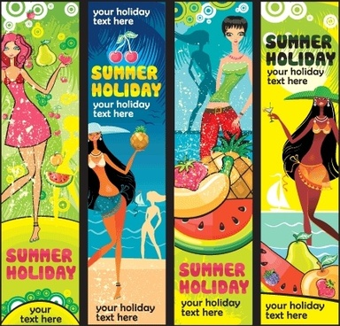 summer holiday banners colorful symbols elements vertical style