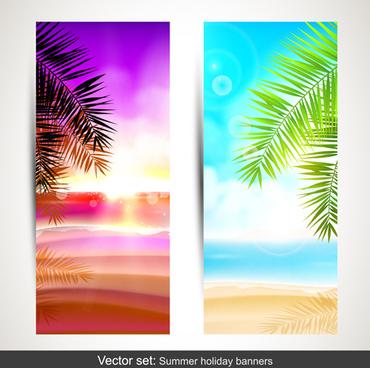summer holidays banner vector set