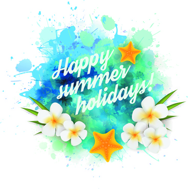 summer holidays elements with grunge background vector