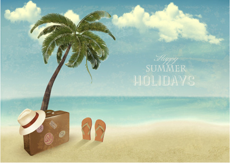 summer holidays happy travel background vector graphic